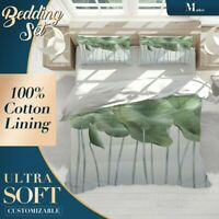 Lotus Leaves Chinoiserie Green Doona Cover Sets with Zipper And Pillowcase
