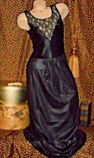 Usa M VinTage Long Black 2 Pc Peignoir Set Stretch Hug Bodice Sheer Sleeves