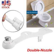 Water Spray Dual Nozzle Self-Cleaning Non-Electric Toilet Seat Attachment Bidet