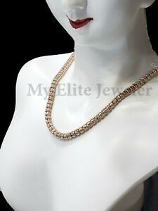 Tennis Gold Necklace 10k Rose Gold Ladies Chain Diamond Cut 16 Inch 100% GENUINE