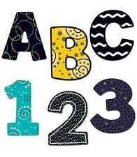 CD 130058 Black White & Bold Bulletin Board Letters 3 inch Classroom Decorations