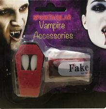 DRACULA VAMPIRE FANGS CAPS WITH TEETH & FAKE BLOOD SET HALLOWEEN FANCY DRESS