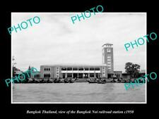 OLD LARGE HISTORIC PHOTO OF BANGKOK THAILAND, THE NOI RAILROAD STATION c1950