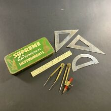 VINTAGE c.1940's 'SUPREME' NO.4 MATHEMATICAL INSTRUMENTS *MINT* IN TIN DRAWING