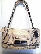Coach 16869 Kristin Python Embossed Metallic Willow Leather Pewter Chain Handle