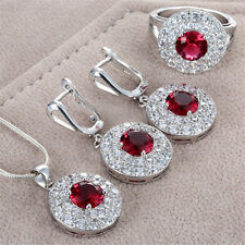 Noble Lady Ruby Gemstone 925 Silver Rings Necklace Pendant Earring Jewelry Set