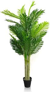 4.6 Feet Artificial Tree Fake Palm Plant Pot Home Office Decor Indoor Outdoor