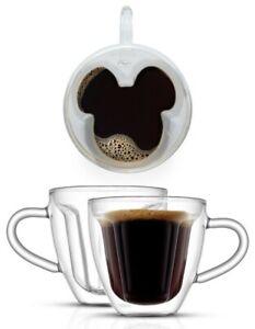 JoyJolt Disney Mickey 3D Espresso Cups - 5.4 oz - Set of 2
