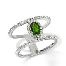 RARITIES CAROL BRODIE CHROME DIOPSIDE WHITE ZIRCON STERLING SILVER RING SZ 7 HSN