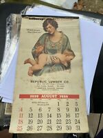 vintage calendar 1929 Advertising Republic Lumber Co.