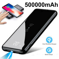 Qi Wireless Power Bank 500000mAh 2 USB LED&LCD Portable External Battery Charger