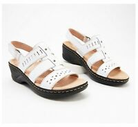 Clarks Collection Lexi Qwin Leather Cut-Out Sandals, White, US Size 6 Wide, NWB