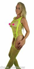 Yellow Pantyhose Lingerie Sheer Lace Body Fishnet Crotchless Stockings