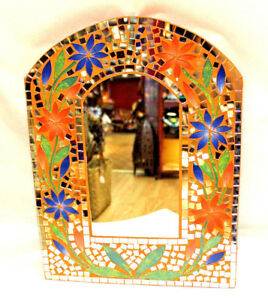 Nice Colorful Mirror Beautiful Gift Orange Blue Mosaic Inlay Wall Decor Arch