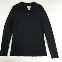 Talbots Womens Long Sleeve Knit Black Sweater with Collar Size S NWOT