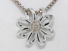 Diamant Brillant Anhänger 585 Weißgold 14Kt Gold Blüte 9 Brillanten