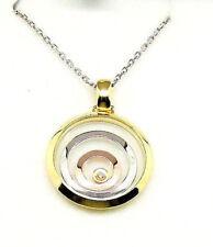 9CT HALLMARKED YELLOW WHITE & ROSE GOLD FLOATING DIAMOND CIRCLES PENDANT