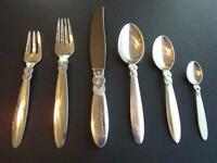 GEORG JENSEN CACTUS STERLING SILVER FLATWARE DINNER SET 6P POST 1945  EXCL******