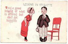 Lessons in Etiquette Don't get Hoggish Vintage Comic Postcard Santa Rosa 1916