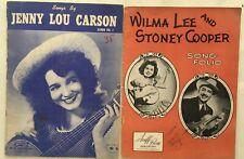 2 Rare C & W FOLIOS 1947-1949 sheet music JENNY LOU CARSON Lee & Cooper SIGNED