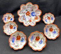 VTG Japanese Geisha Bowl Set: Large Footed Bowl + 6 Small Bowls, Hand Painted