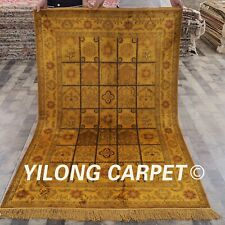 Yilong 4'x6' Golden Handmade Silk Carpets Vintage Hand Knotted Area Rug G29C