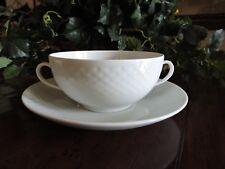 Bing & Grondahl Cream Soup Bowl & Saucer Set Elegance White Textured Danish #481