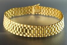 "14K Yellow Solid Gold Flexible Link Wide Mens or Womens Bracelet 8"" Italy 21g"