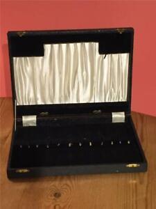 Vintage Empty Wooden Black Faux Leather Cutlery Box 31.5 x 23.4 x 4.5cm