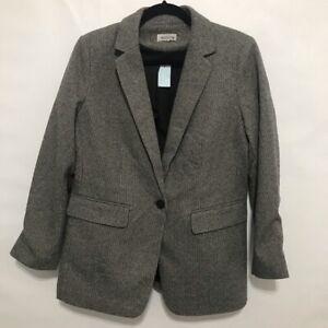 NEW LOFT Petite Long Textured Knit Blazer WOMENS 12 P 12P NWT GRAY HOUNDSTOOTH
