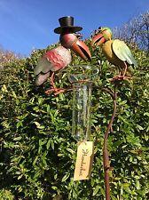 * Regenmesser bunte Vögel A * ArtFerro von Exner Handarbeit Metall Gartenstecker