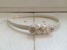 Ivory Satin Hairband Headband Glitter Flowers Pearl Bridesmaid Flower Girl
