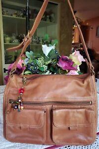 Vintage Fossil Tan Brown Leather Shoulder Handbag Med/Large Multi Pockets EUC