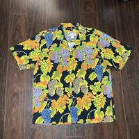 Vintage Paradise Found Hawaiian Aloha Shirt Grapes Pattern Size Large 100% Rayon