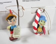 Grolier Disney PINOCCHIO JIMINY CRICKET Ornament 114 116 (set of 2) in box