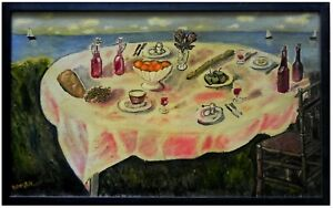 Yitzchak Roman: Set Table & Seascape / Israeli Jewish Judaica Folk Naive Art Oil