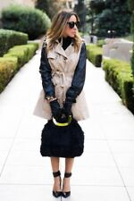 NWT Faux Leather Sleeve Tan Black Two Tone Trench Coat Jacket-M
