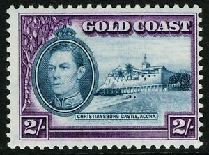 SG 130a GOLD COAST 1940 - 2/- BLUE & VIOLET (perf. 11.5 x 12) - UNMOUNTED MINT