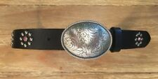 "Nocona Belt Co. Size 22 Black Leather Belt & Buckle ""Cowgirl"" Studs Rhinestones"