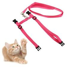 I-shaped Pet Cat Kitten Belt Nylon Leash Collar Harness Safety Strap Pink