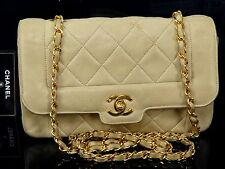 AUTHENTIC CHANEL LAMB LEATHER QUILTED SHOULDER BAG W22 BEIGE GHW S559