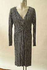 NWOT Hugo Boss Dress Faux Wrap Summer Sundress Navy White Black L