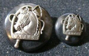 "2 Lauren Ralph Horse Head Button 7/8"" 5/8"" Silver Tone on Brown TORTOISE Taupe"