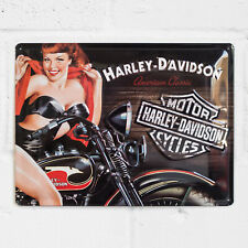 Harley Davidson Vintage Motorbike Tin Sign 40cm Garage Wall Art Home Decor Gift