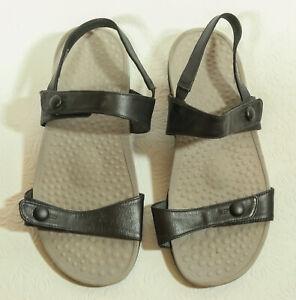 ZIERA Black Leather Strappy Sandal SIZE 37 Pillow Walk Open Toe 6.5