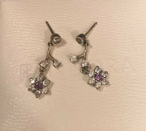 AUTHENIC PANDORA FORGET ME NOT CLEAR AND PURPLE EARRINGS $90