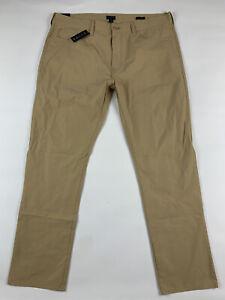 J.Crew Mens Golf Tech Pants 36x30 Slim Honey Brown Stretch Lightweight New A1044