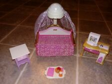 Fisher Price Loving Family dollhouse bedroom furniture canopy bed table food