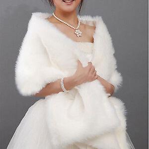 Ivory Faux Fur Wrap Jacket Bolero Shawl Shrug Cape Bridal Wedding accessories