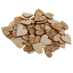 100x Natural Wooden Heart MDF Blank Cutout Tags for Wedding Party DIY